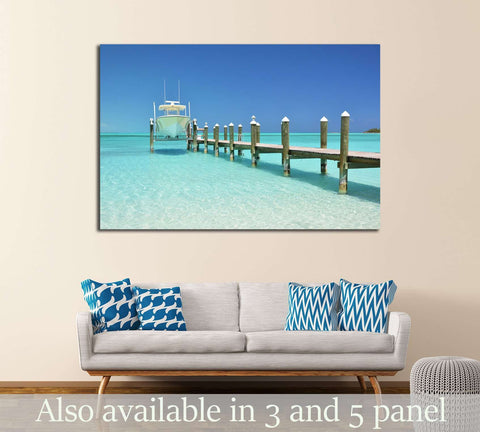 Yacht at the wooden jetty. Exuma, Bahamas №2683 Ready to Hang Canvas Print