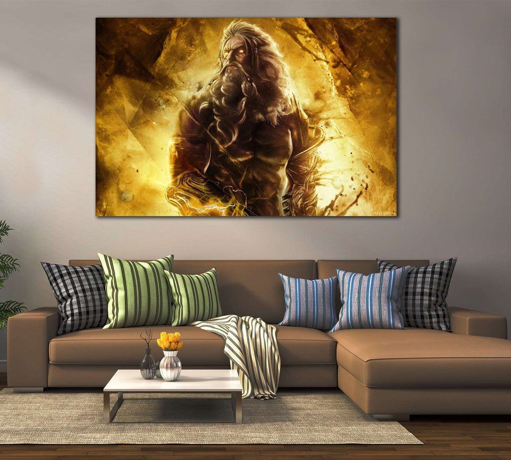 zeus in god of war №2022 Ready to Hang Canvas Print