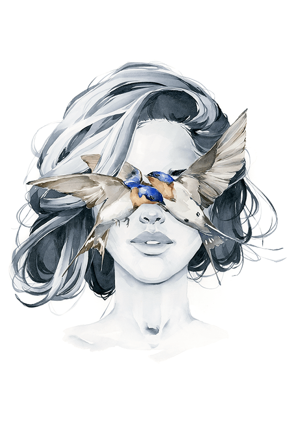 Barn Swallow blindfolded girl fine art print