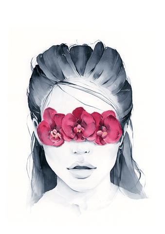Orchid blindfolded girl fine art print
