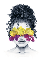 Iris blindfolded curly girl art print
