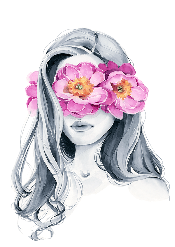 Load image into Gallery viewer, peony blindfolded girl art print