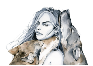 Alpha -  girl with the wolves art print