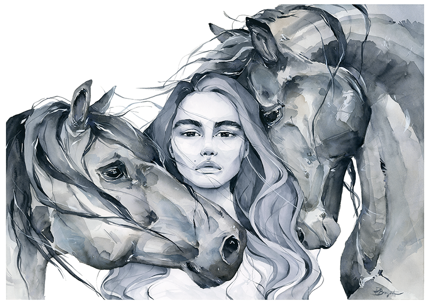 freedom - girl with horses art print