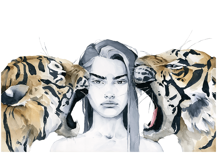Resilience - girl with tigers art print