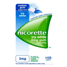 Load image into Gallery viewer, Nicorette Icy White Chewing Whitening Gum, 2 mg, 105 Pieces (Stop Smoking Aid/ Quit Smoking)