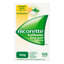 Load image into Gallery viewer, Nicorette Fruit Fusion Chewing Gum, 4 mg, 105 Pieces (Stop Smoking Aid)