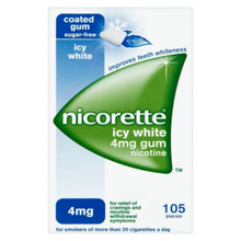 Load image into Gallery viewer, Nicorette Icy White Chewing Whitening Gum, 4 mg, 105 Pieces (Stop Smoking Aid)