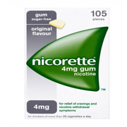 Nicorette Original Chewing Gum, 4 mg, 105 Pieces (Stop Smoking Aid) - Packaging may vary