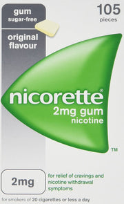 Nicorette Original Chewing Gum, 2 mg, 105 Pieces (Stop Smoking Aid) - Packaging may Vary