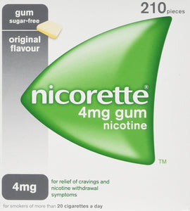 Nicorette Original Chewing Gum, 4 mg, 210 Pieces (Stop Smoking Aid)- Packaging may Vary