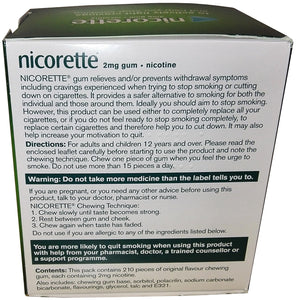 Nicorette Original Chewing Gum, 2 mg, 210 Pieces (Stop Smoking Aid) - Packaging May Vary