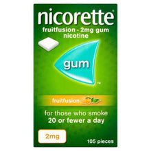 Load image into Gallery viewer, Nicorette Fruitfusion Chewing Gum, 2 mg, 105 Pieces (Stop Smoking Aid)