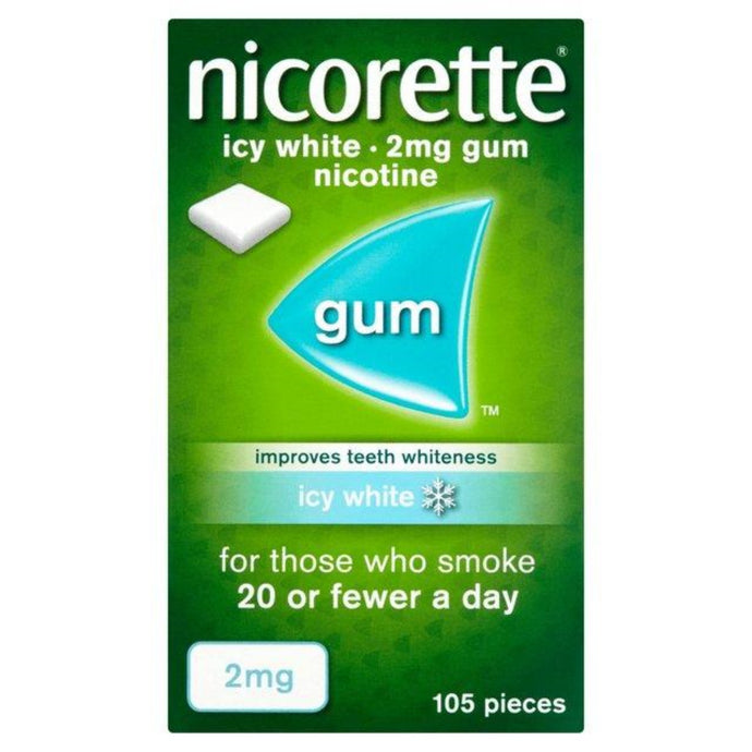 Nicorette Icy White Chewing Whitening Gum, 2 mg, 105 Pieces (Stop Smoking Aid/ Quit Smoking)