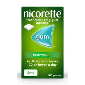 Nicorette Freshmint Chewing Gum, 2 mg, 105 Pieces (Stop Smoking Aid)