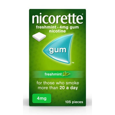 Nicorette Fresh Mint Chewing Gum, 4 mg, 105 Pieces (Stop Smoking Aid)