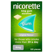 Load image into Gallery viewer, Nicorette Original Chewing Gum, 4 mg, 105 Pieces (Stop Smoking Aid) - Packaging may vary