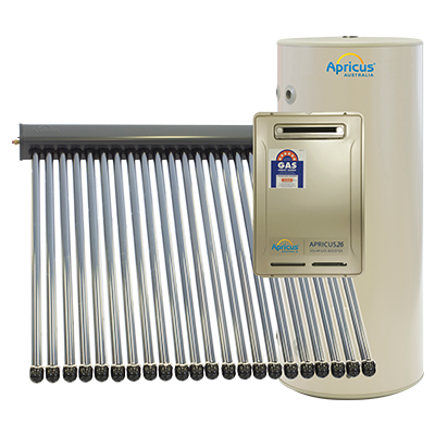 Apricus Solar Hot Water Systems - Glass Lined - Gas Boosted