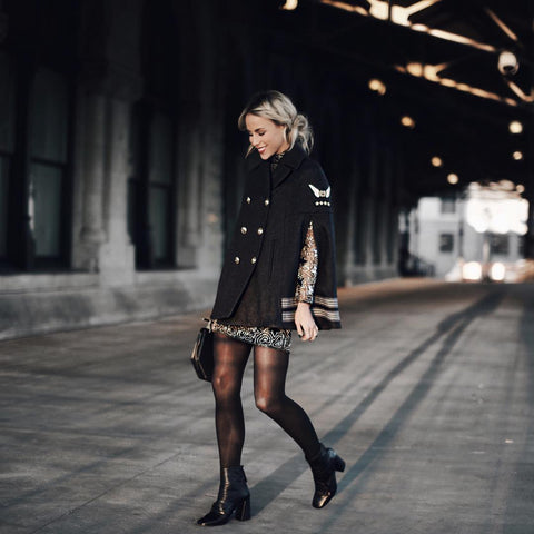 How to Wear Tights (Be Fashion Week Ready) Finish off this sophisticated cape look with Oohlalaa Black Caviar Hosiery.