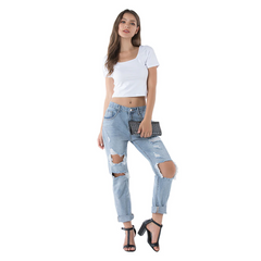 DISTRESSED LOOSE JEANS - Oohlalaa Hosiery!