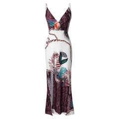 PEACOCK FEATHER PRINTED SUMMER DRESS - Oohlalaa Hosiery!