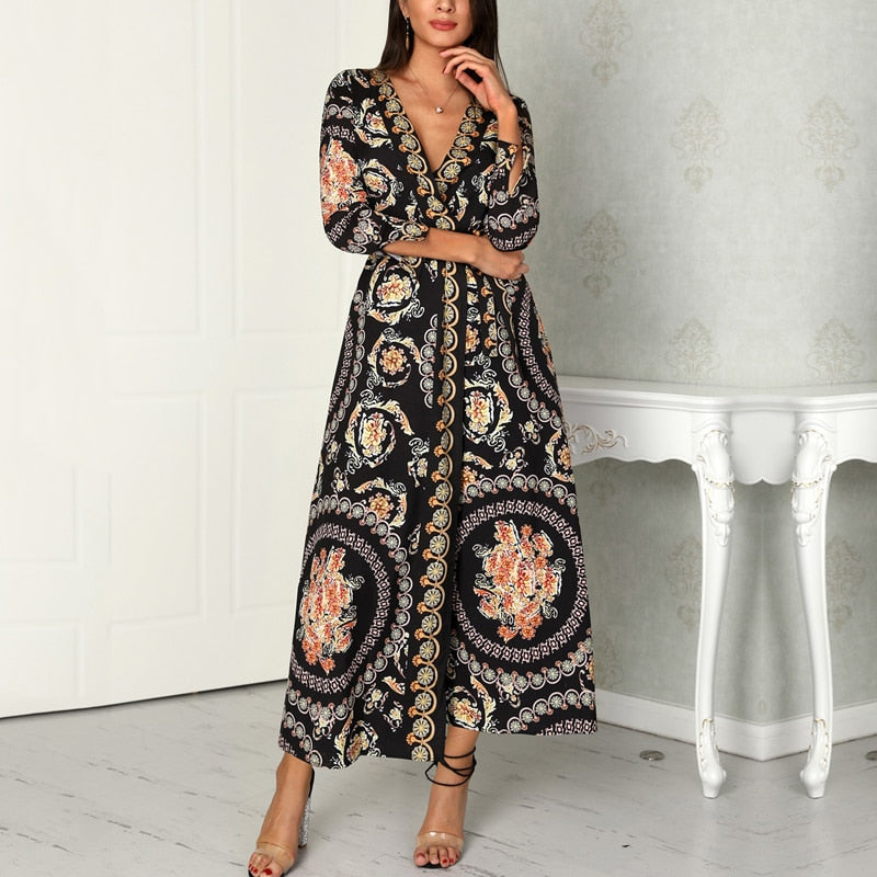V Neck Cardigan Maxi Dress - Oohlalaa Hosiery!