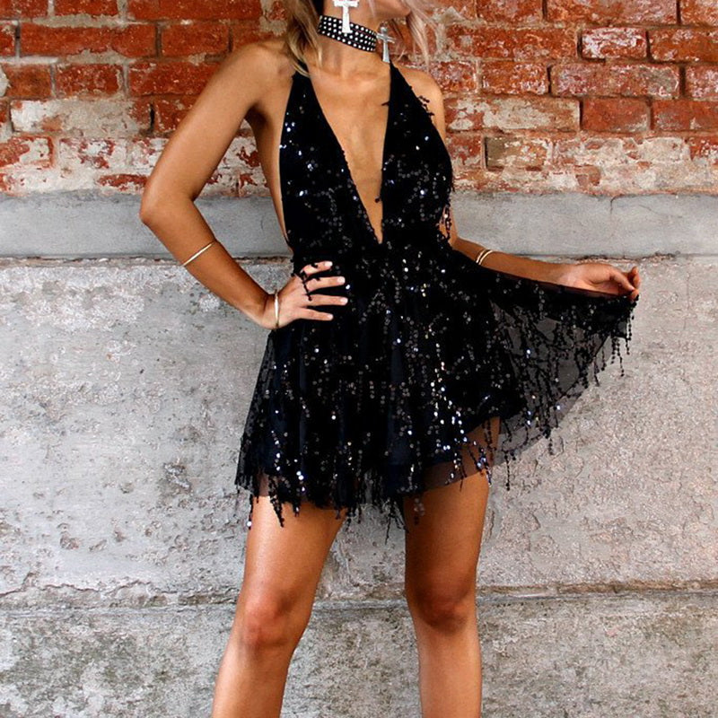 SEQUINED BACLESS HALTER DRESS - Oohlalaa Hosiery!