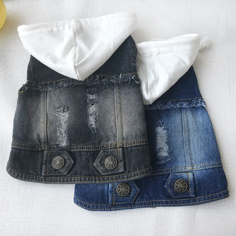 ROCK STYLE DENIM HOODED VEST - Oohlalaa Hosiery!