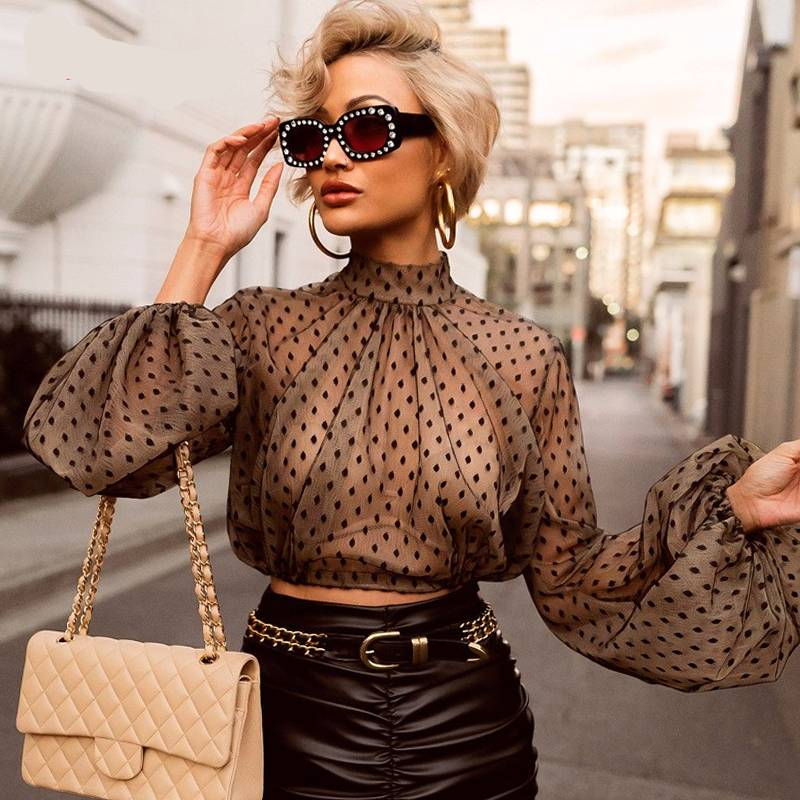 DOTTED MESH BLOUSE - Oohlalaa Hosiery!