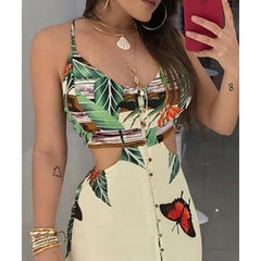 TROPICAL CUTOUT SUNDRESS - Oohlalaa Hosiery!
