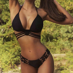 NICOLE STRAPPY TWO-PIECE SWIMSUIT - Oohlalaa Hosiery!