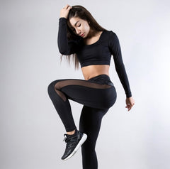 Sexy Mesh Leather Patchwork Black Leggings Women High Waist Fitness Push Up Hiking Legging Pants Jogging Femme - Oohlalaa Hosiery!