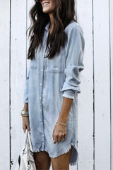 DENIM TASSELLED DRESS SHIRT - Oohlalaa Hosiery!