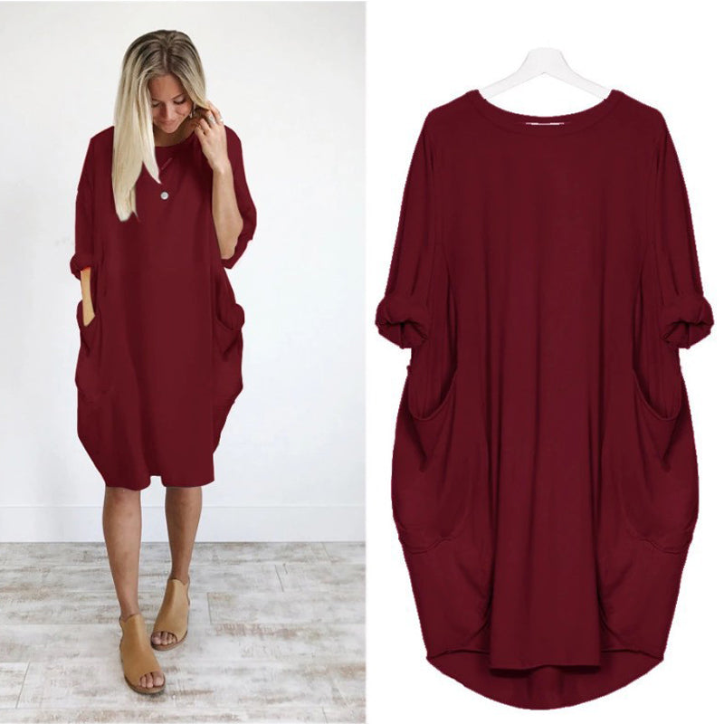 Loose Double Pocket Dress - Oohlalaa Hosiery!