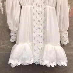 LANTERN SLEEVE  WHITE DRESS - Oohlalaa Hosiery!