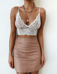 FLORAL LACE STRAPPY V-NECK CROP TOP - Oohlalaa Hosiery!
