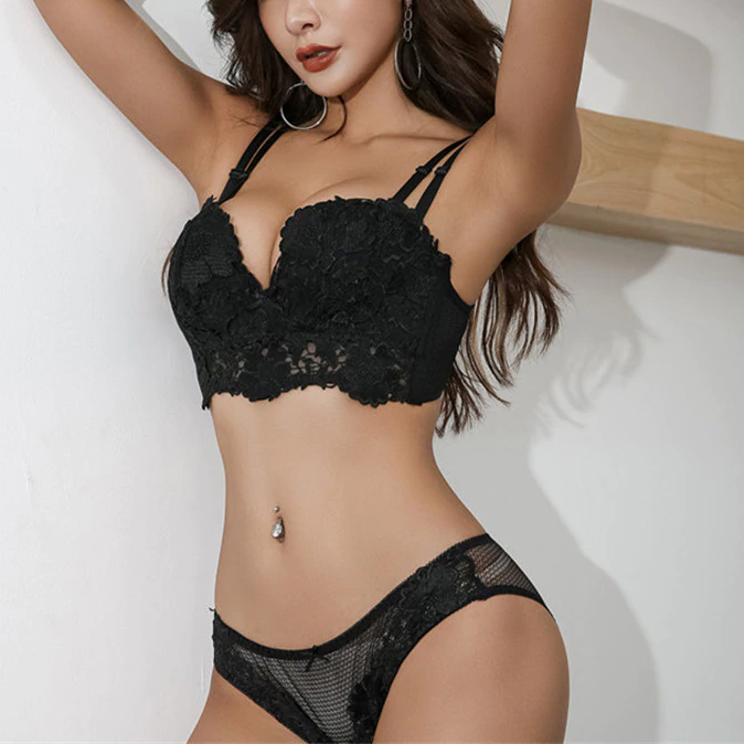 LUXURIOUS LACE BUSTIER LINGERIE SET - Oohlalaa Hosiery!