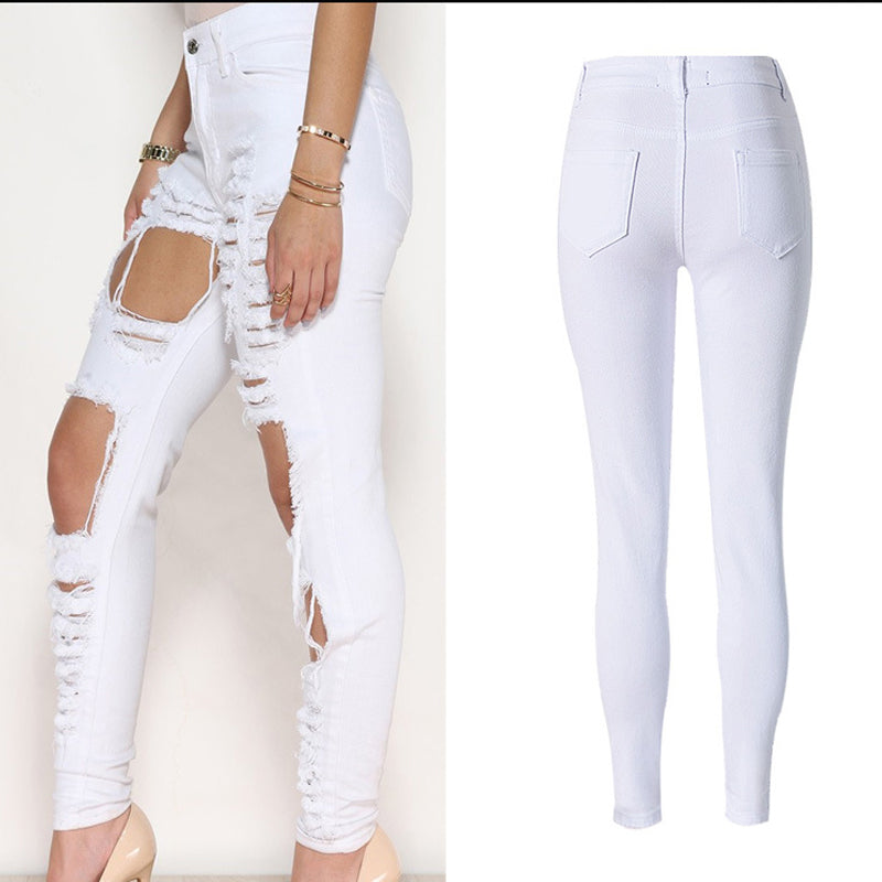 STRETCHED RIPPED AND HOLED JEANS - Oohlalaa Hosiery!