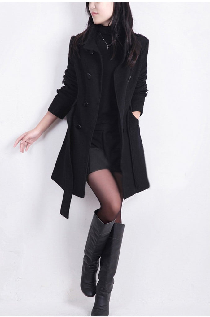 SLIM DOUBLED BREASTED TRENCH - Oohlalaa Hosiery!