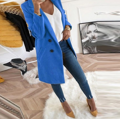 LONG SLEEVE WOOL BLEND COAT - Oohlalaa Hosiery!