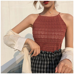 KNITTED HALTERED TANK TOP - Oohlalaa Hosiery!