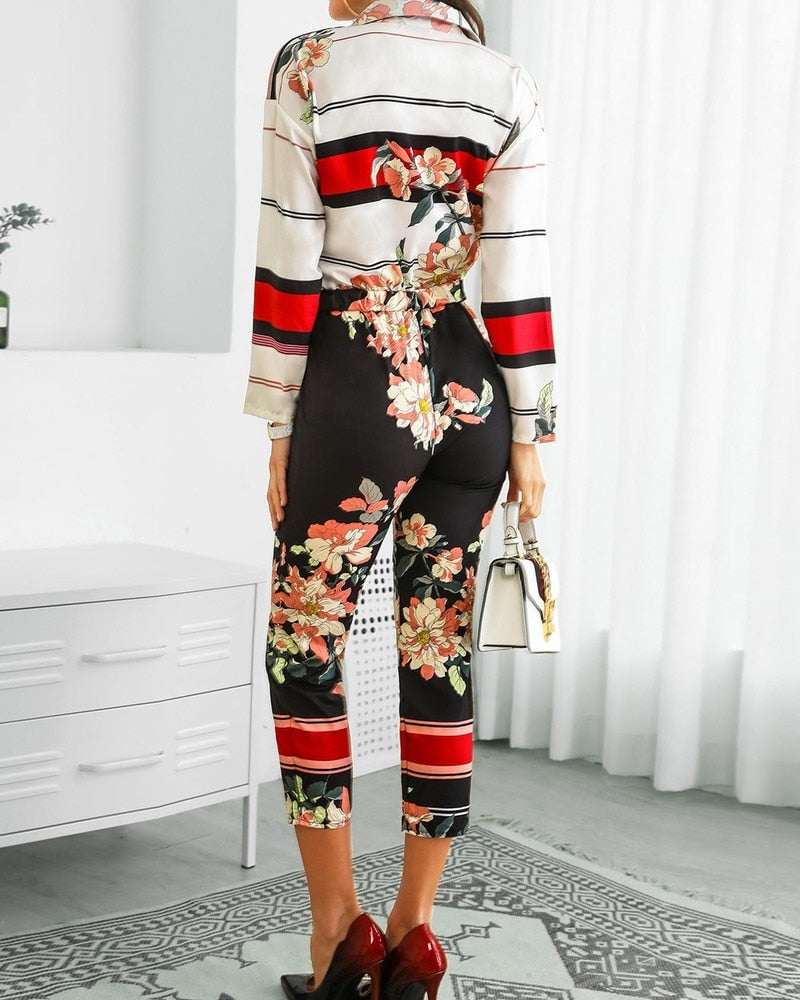 FLORAL BUTTON DOWN LONG SLEEVED JUMPSUIT - Oohlalaa Hosiery!