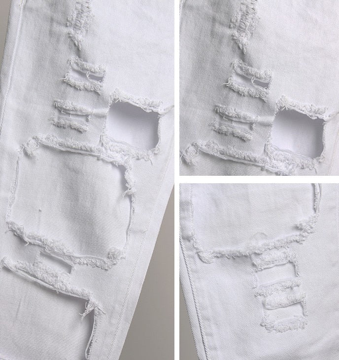 WHITE DISTRESSED JEANS - Oohlalaa Hosiery!
