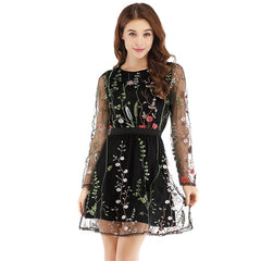 FLORAL EMBROIDERY SHEER DRESS - Oohlalaa Hosiery!