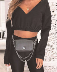 LONG SLEEVED  OFF SHOULDER CROP TOP - Oohlalaa Hosiery!