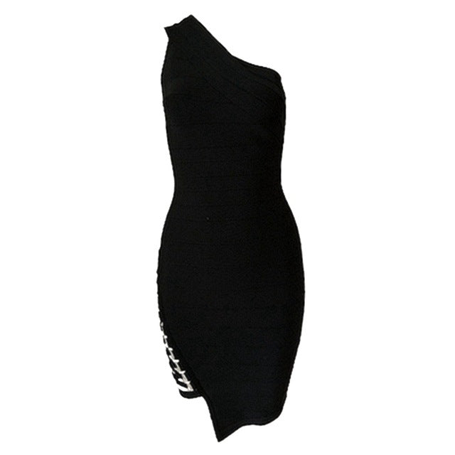 Summer Sleeveless One-Shoulder Sequined Bandage Dress - Oohlalaa Hosiery!