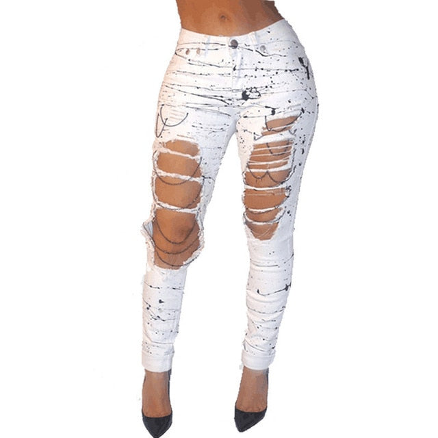 SPLATTER PAINTED RIPPED DENIM PANTS - Oohlalaa Hosiery!