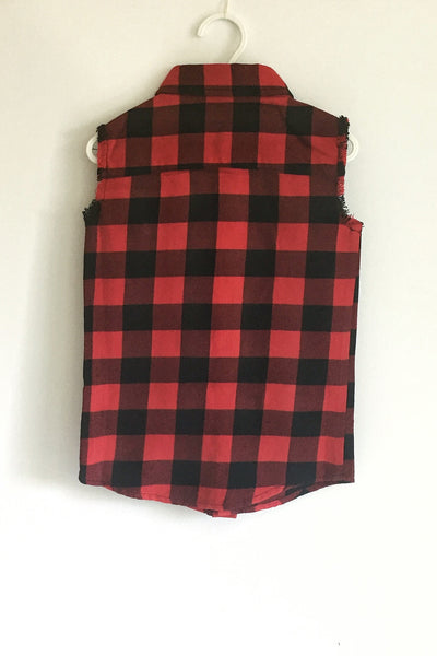 Kids-Beau Hudson-Buffalo Plaid Sleevless Vest-Back