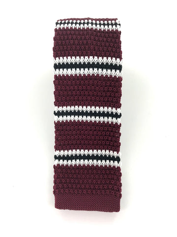 Cravate tricot bordeaux et noir | Cotton Park