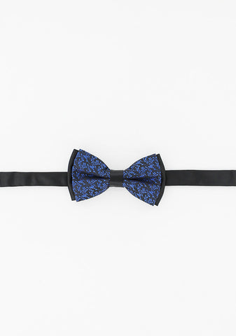Noeud papillon noir motifs bleu royal | Cotton Park